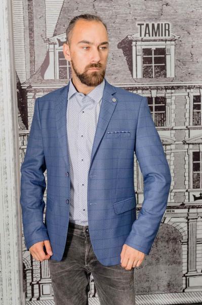 Пиджак мужской светло-синего цвета в клетку