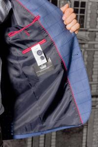 Фото Пиджаки Пиджак мужской светло-синего цвета в клетку