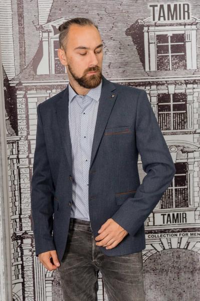 Пиджак мужской темно-серого цвета с заплатками