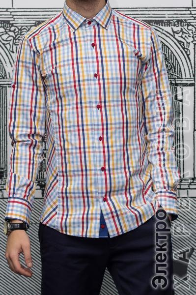 0a0967a86b213a8 Рубашка Slim Fit в цветную клетку - Мужские рубашки на рынке Барабашова
