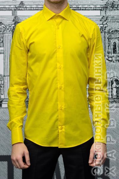 68bfc96d2575385 Рубашка мужская Slim Fit желтая - Мужские рубашки на рынке Барабашова