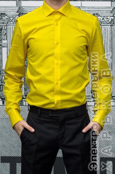 a38d8dc88f25674 Рубашка мужская Slim Fit желтая - Мужские рубашки на рынке Барабашова ...
