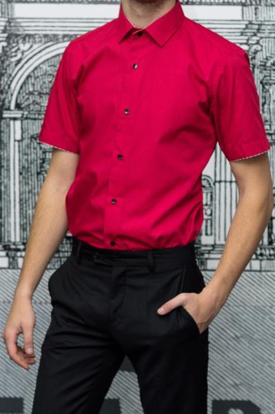 Рубашка мужская Slim Fit красная с коротким рукавом