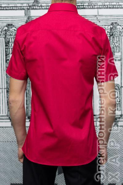 cfdb019f49383fc ... Рубашка мужская Slim Fit красная с коротким рукавом - Мужские рубашки  на рынке Барабашова ...