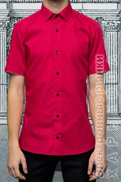 3949c210d986649 ... Рубашка мужская Slim Fit красная с коротким рукавом - Мужские рубашки  на рынке Барабашова