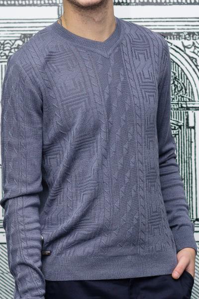 Пуловер мужской с узором сиреневого цвета