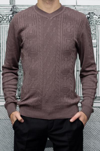 Пуловер мужской с узором коричневого цвета