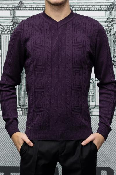 Пуловер мужской с узором фиолетового цвета