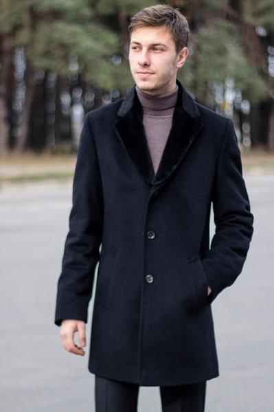 Пальто мужское Dante черное с мехом