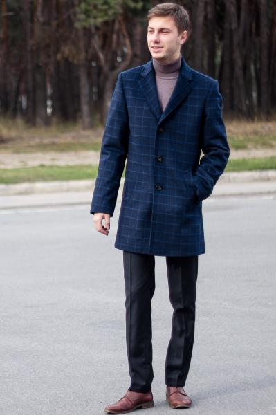 Пальто мужское Dante ярко-синяя клетка