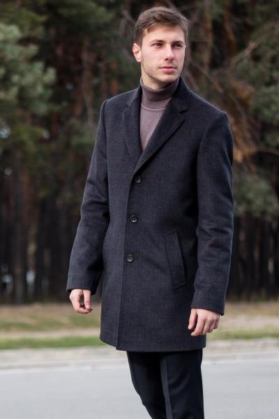 Пальто мужское Dante темно-серого цвета в клетку