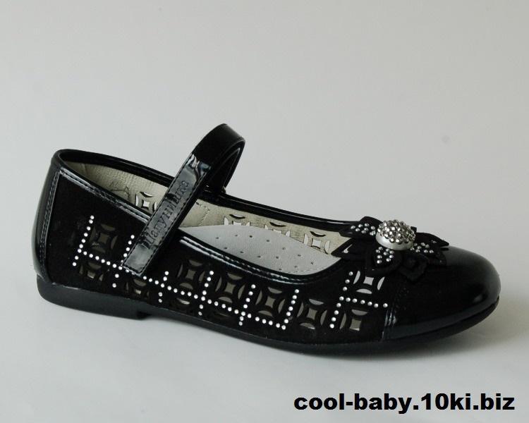 Детские туфли для девочки Шалунишка черный цветок  32,35