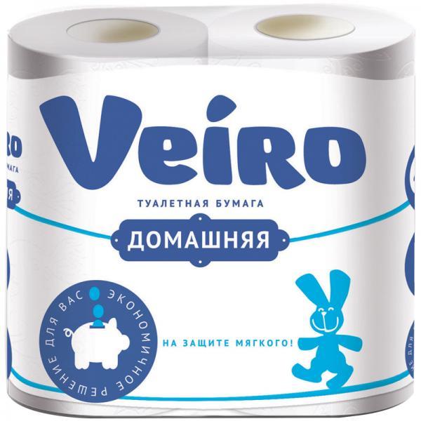 Бумага туалетная VEIRO Домашняя 2сл, 4рул/упак, белая, 15 метров