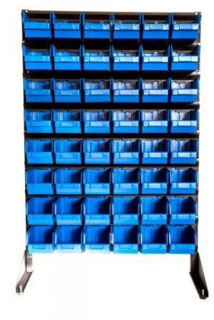 Стенды с пластиковыми ящиками. Стеллаж для метизов с ящиками