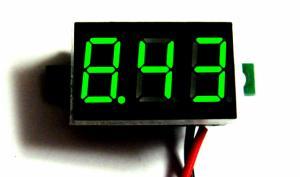 Фото Цифровые и измерительные приборы, устройства, Вольтметры Вольтметр зелёный DC2.50 - 32.0 В