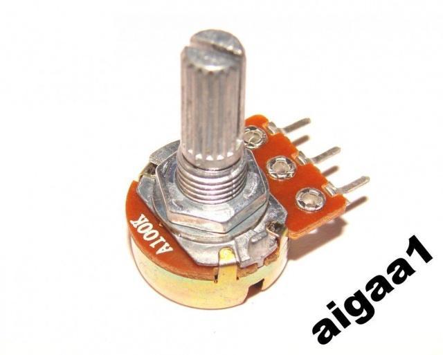 Резистор переменный А 100 кОм логарифмический моно