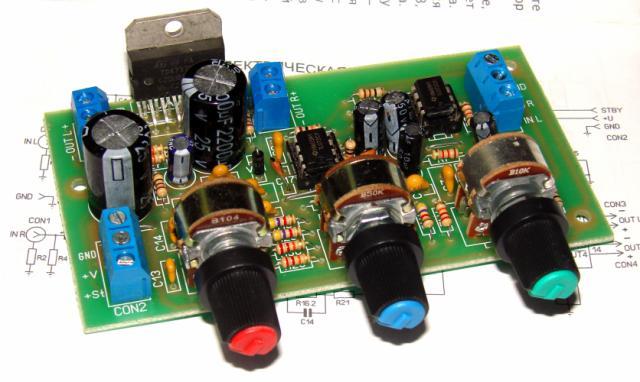Стерео УНЧ 2х30W TDA7377 с активным темброблоком