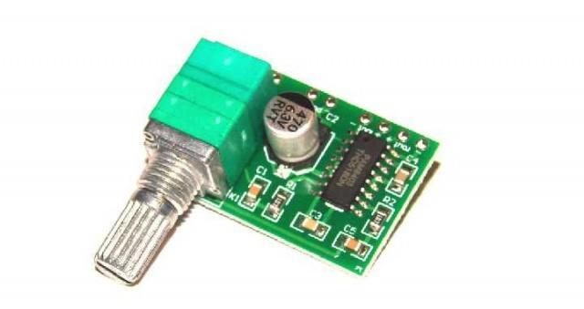 Стерео аудио усилитель 2х3W PAM8403 с регулятором .