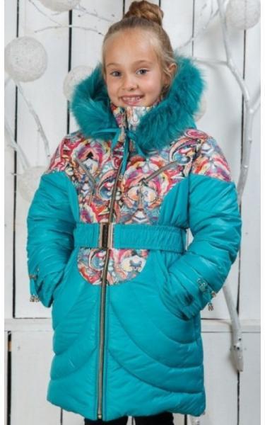 00/211 Пальто (зима) Василиса д/дев(бирюза)