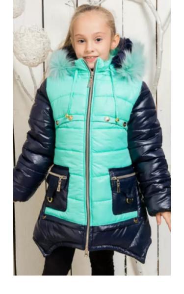 0033-1 Пальто(зима) ИРМА  д/дев (мята+синий)