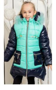 Фото Верхняя одежда (зима) 0033-1 Пальто(зима) ИРМА  д/дев (мята+синий)