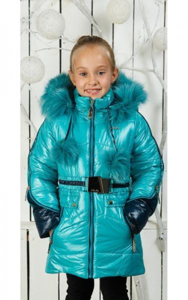 002701 Зимнее пальто Барбара д/дев(бирюза)