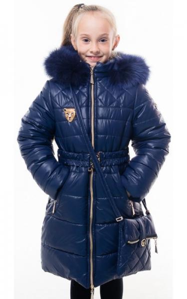 0210 Пальто(зима) ШЕЛЛИ с сумочкой (синий)