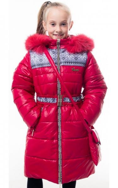 0207 Пальто(зима) УЗОР(красный)