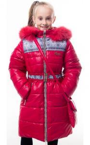 Фото Верхняя одежда (зима) 0207 Пальто(зима) УЗОР(красный)