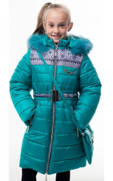 0205 Пальто(зима) УЗОР с сумкой (бирюза)