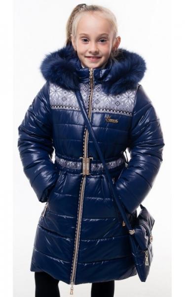 0206 Пальто(зима) УЗОР с сумкой (синий)