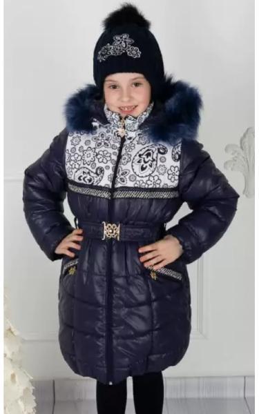022 Пальто (зима) Виолетта д.дев +шапочка (синий)