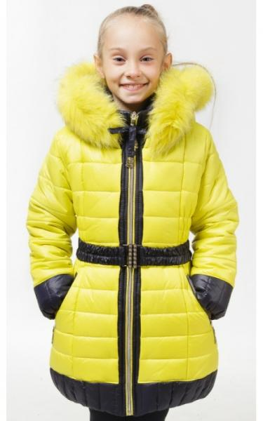 0502 Куртка (зима) МАГДА д/дев (желтый+синий)