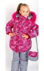 Фото Верхняя одежда (зима) 08-1 Комплект зимний ЕЛЕНА  (розовый + серый)