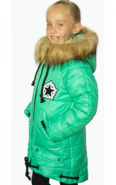 12012 Зимняя куртка ФЛОРА д/дев.(мятный)