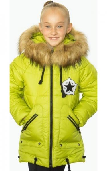 12011 Зимняя куртка ФЛОРА д/дев.(салатовый)