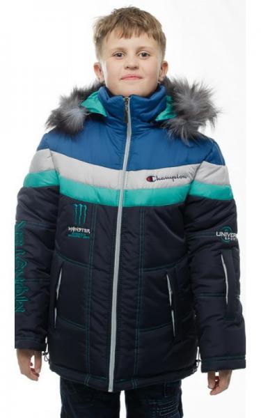 12232 Куртка МАТВЕЙ зимняя д/мал(синий/бирюза/серый/голубой)