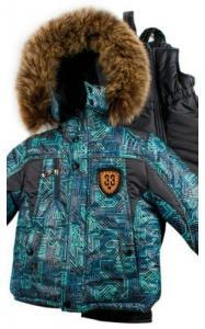 Фото Верхняя одежда (зима) 198-04 Комплект зимний ИСАК д/мальч.(черный+бирюзовый принт)
