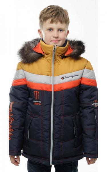 12249 Куртка МАТВЕЙ зимняя д/мал(синий/оранжевый/серый/горчица)