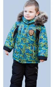 Фото Верхняя одежда (зима) 198-02 Комплект зимний ИСАК д/мальч.(т.синий+салатовый принт)