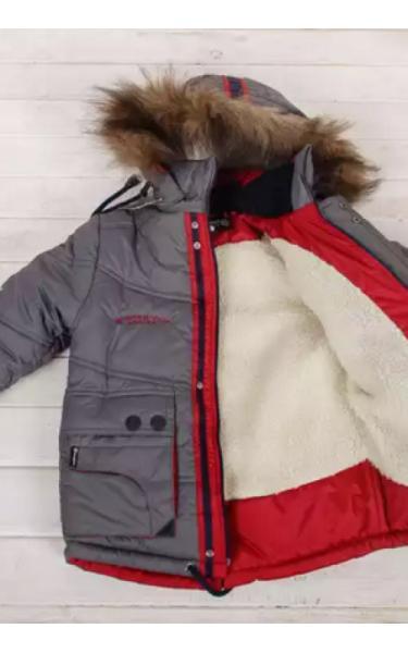3710 Куртка зимняя д/мальч.СТАС (серый+красный)