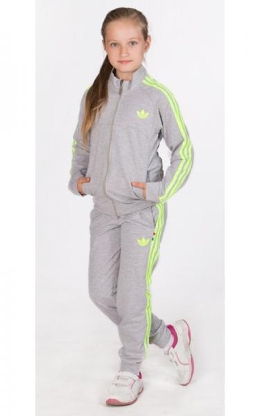 ЛК008 Спорт.костюм д/дев (св.серый+салатовый)