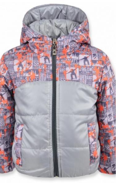 0107-1 Куртка  МАЙ демисезонная д/мальч (серый+оранжевый принт)