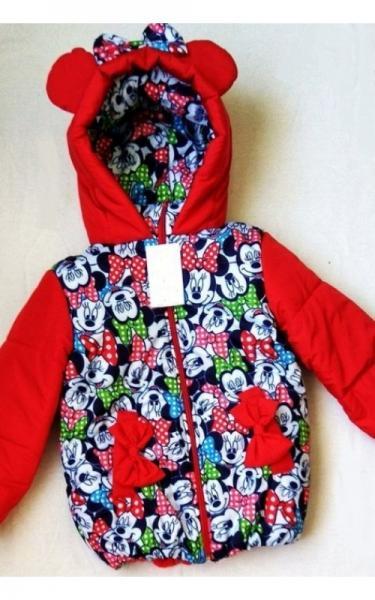 0026 Куртка д/дев МЫШКА весна-осень (красный+принт микки-маус)