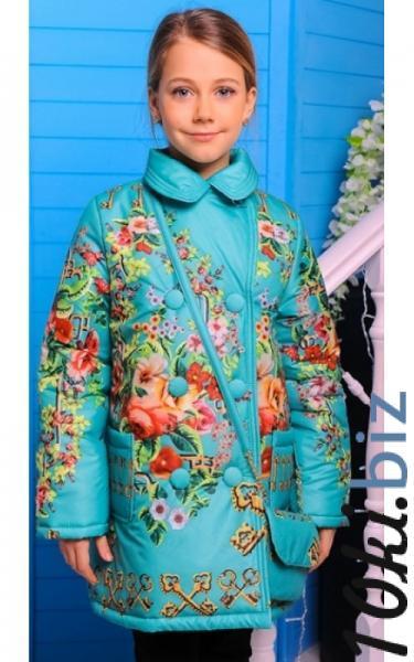 0287 Пальто ЕВА с сумочкой (бирюза+принт) купить в Ростове - Пальто для девочек
