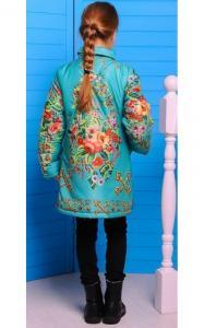 Фото Верхняя одежда (весна-осень) 0287 Пальто ЕВА с сумочкой (бирюза+принт)