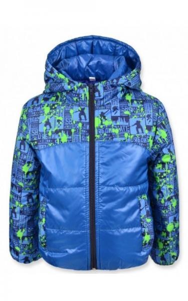 0107 Куртка  МАЙ демисезонная д/мальч (электрик+зеленый принт)