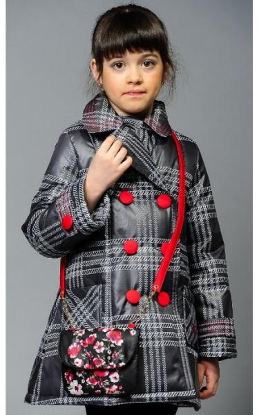 0285 Пальто ЕВА с сумочкой (клетка)