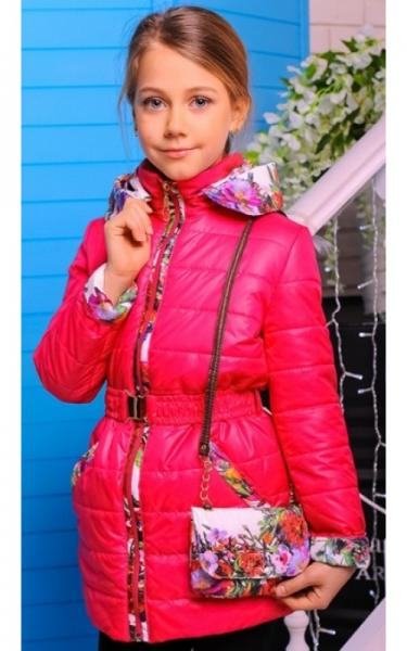 3014 Куртка Алевтина +сумка в подарок (малина)