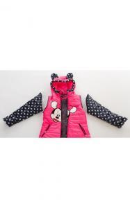 Фото Верхняя одежда (весна-осень) 140021 Куртка-жилет МАКСИ деми д/дев.(малина+горох)
